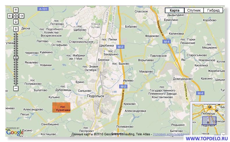 Карта пригородов Подольска