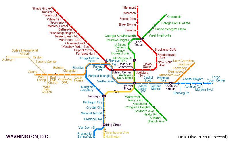 69 Kb Вашингтон. Схема метро