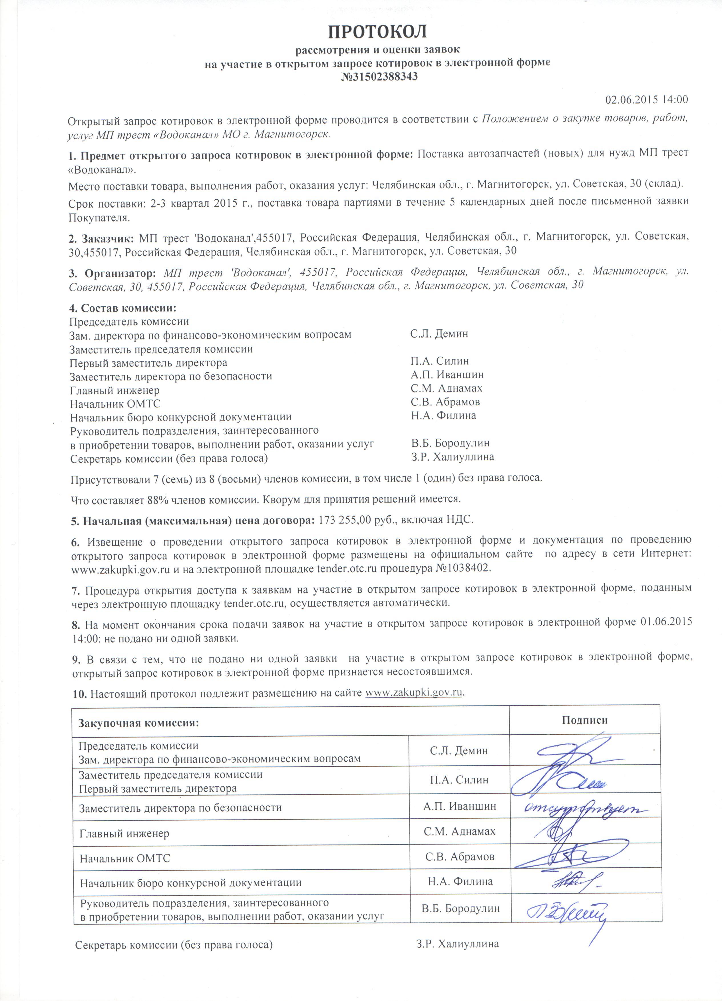 Протокол рассмотрения и оценки заявок на участие в закрытом конкурсе
